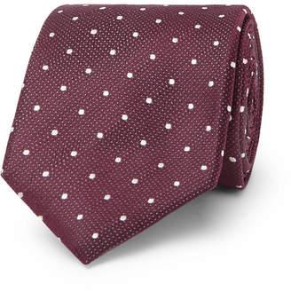 HUGO BOSS 7.5cm Polka-Dot Silk-Jacquard Tie - Men - Burgundy