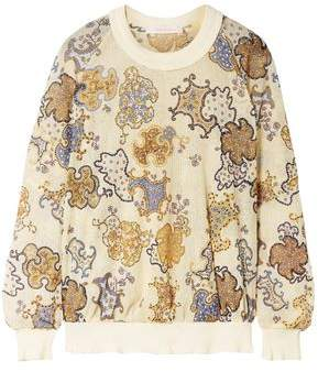 See by Chloe Printed Crochet-knit Sweatshirt