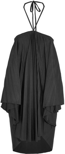 Balenciaga Balenciaga - Convertible Pleated Stretch-satin Halterneck Dress - Black