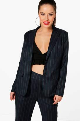boohoo Petite Stripe Woven Co-Ord Blazer