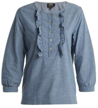 A.P.C. Cleo Ruffle Front Chambray Cotton Blouse - Womens - Light Blue