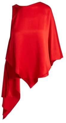 Osman Auriene One Shoulder Layered Satin Top - Womens - Red