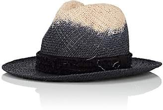 CA4LA Men's Dip-Dyed Straw Fedora - Black