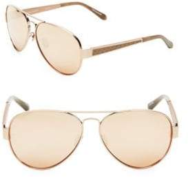 Linda Farrow 62MM Snakeskin Trim Aviator Sunglasses