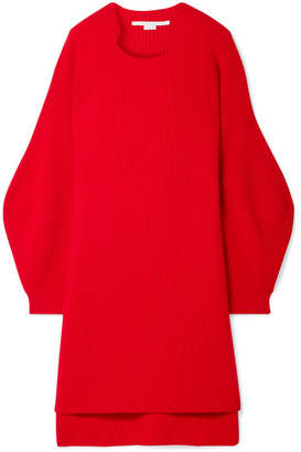 Stella McCartney Oversized Ribbed Wool Sweater - Red