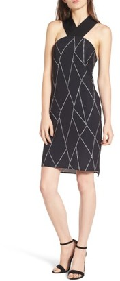 Women's Trouve Geo Print Cross Back Dress $79 thestylecure.com
