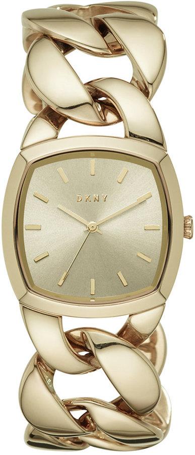 DKNYDKNY Women's Chanin Gold-Tone Stainless Steel Chain Bracelet Watch 32mm NY2567