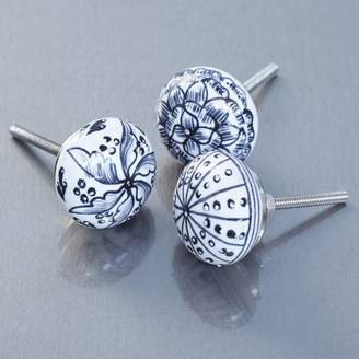 Graham and Green Floral Ceramic Knobs