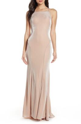 Mac Duggal Shimmering Metallic Mermaid Prom Dress