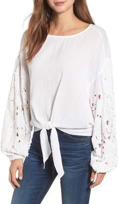 Kas Tie Front Cut Floral Sleeve Cotton Blouse