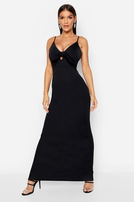 boohoo Tie Front Crepe Maxi Dress