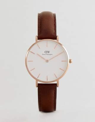 Daniel Wellington DW00100171 Petite Bristol Leather Watch In Brown 32mm