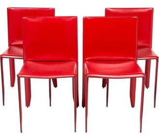 Cattelan Italia Set of 4 Leather Piuma Side Chairs