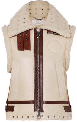 Chloé Suede And Leather-trimmed Shearling Vest - Ivory