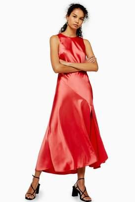 Topshop Womens Satin Split Dress - Coral