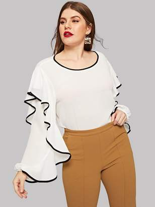 SheinShein Plus Contrast Binding Exaggerated Sleeve Blouse