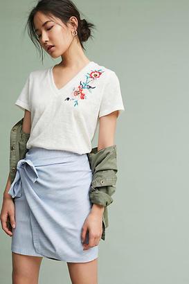 Moon River Caprenia Embroidered V-Neck Tee $88 thestylecure.com