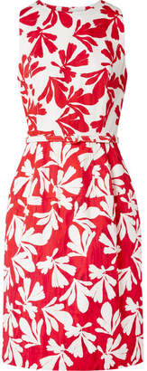 Oscar de la Renta Belted Printed Cotton-blend Twill Dress - Red