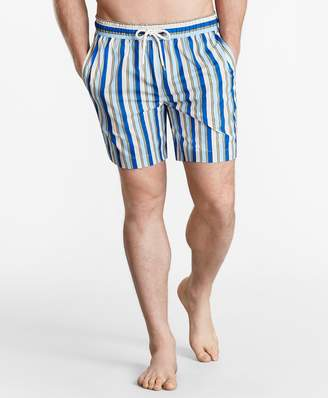 "Brooks Brothers Montauk 6"" Stripe Print Swim Trunks"