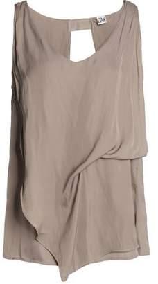 Free Shipping With Mastercard Oak Woman Layered Draped Satin Top Black Size S OAK Exclusive Choice jQLvbmBU