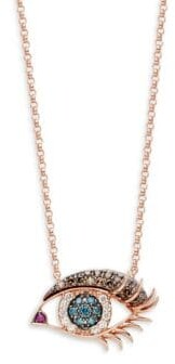 Effy 14K Rose Gold White, Black & Blue Diamond & Ruby Eye Pendant Necklace