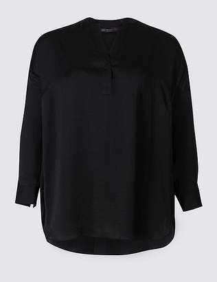 Marks and Spencer CURVE Satin Notch Neck Long Sleeve Blouse