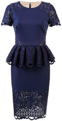 Marchesa peplum laced dress