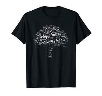 Creative Tree Word Art Positive Inspiring Words Gift T-shirt