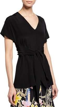 Diane von Furstenberg Lizzie V-Neck Short-Sleeve Tie-Waist Silk Top