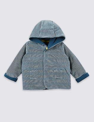 Marks and Spencer Cotton Rich Striped Velour Hooded Jacket