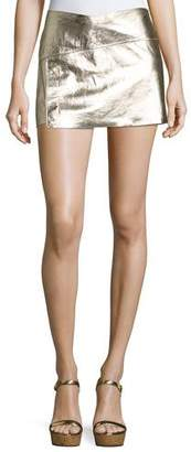 ba&sh Yruce Metallic Leather Mini Skirt $495 thestylecure.com