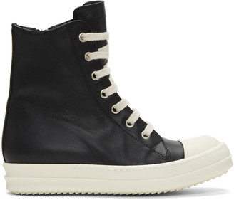 Rick Owens Black Leather High-Top Sneakers $1,085 thestylecure.com