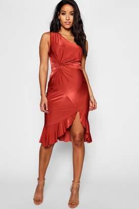 boohoo Maternity One Shoulder Twist Frill Midi Dress
