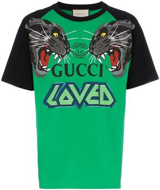 Gucci over tiger head print cotton T-shirt