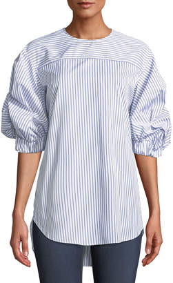 Monographie Elastic-Sleeve Striped Cotton Top