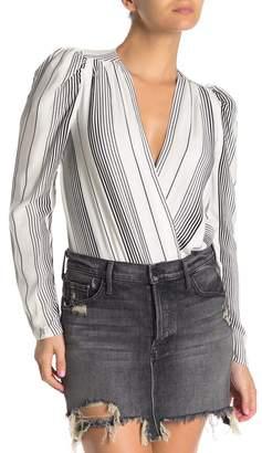 AFRM Striped Surplice Long Sleeve Bodysuit