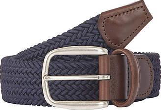 Barneys New York Men's Braided Elastic Belt - Navy