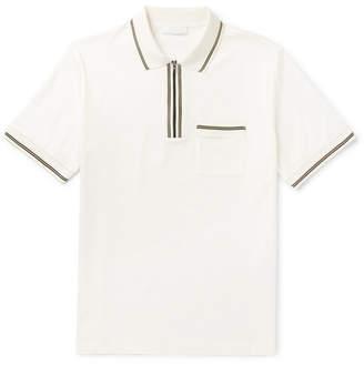 Prada Contrast-Tipped Cotton-Jersey Half-Zip Polo Shirt