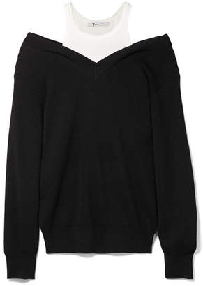 Alexander Wang Off-the-shoulder Layered Ribbed Merino Wool-blend And Cotton Sweater - Black