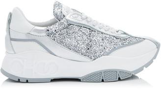 Jimmy Choo RAINE Silver Coarse Glitter Fabric and Metallic Nappa Leather Trainers