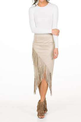 Olivaceous Fringe Midi Skirt $87 thestylecure.com