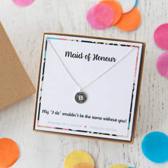 Wedding in a Teacup Stamped Disc Initial Necklace On Personalised Gift Card
