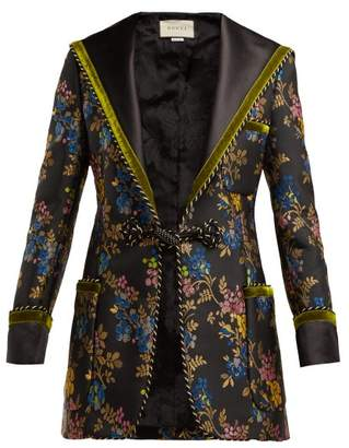 Gucci Sailor Collar Floral Brocade Jacket - Womens - Black Multi