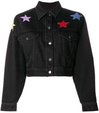 Valentino star embroidered denim jacket