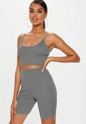Missguided Gray Strappy Knit Ribbed Crop Top