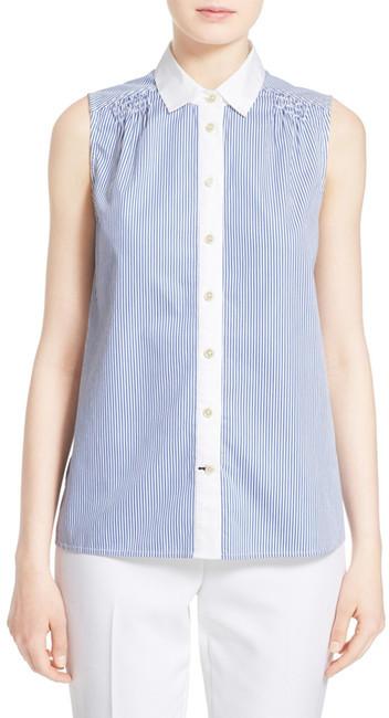 Kate SpadeKate Spade New York Stripe Sleeveless Peplum Back Shirt