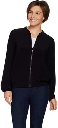 Women With Control Attitudes by Renee Zip Front Solid or Printed Bomber Jacket