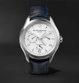 Baume & Mercier Clifton Automatic 43mm Stainless Steel and Alligator Watch - Men - White