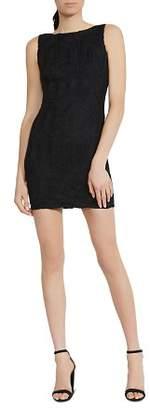 Bailey 44 Black Diamond Crochet-Inset Faux Suede Dress