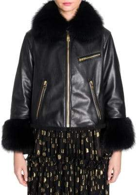 Dolce & Gabbana Raccoon Fur-Trim Leather Jacket